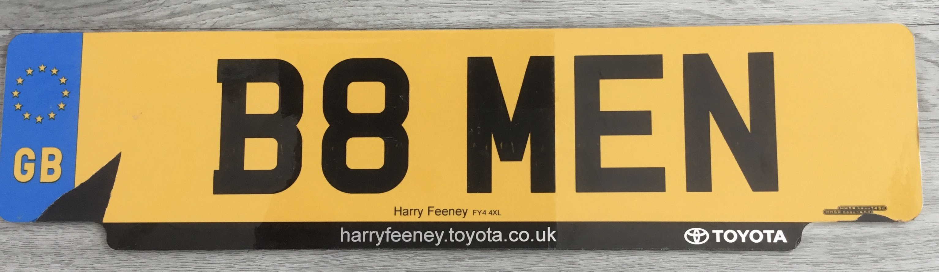 B8MEN Private Registration No  For Sale (picture 1 of 1)