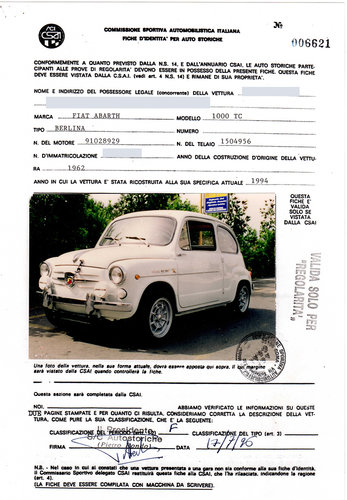 1963 Rare original Abarth 1000 TC (it is not a replica) For Sale (picture 5 of 6)