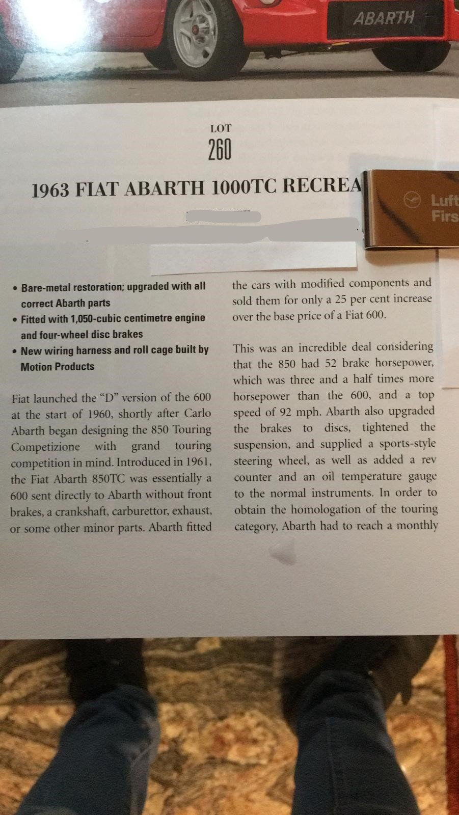 Extremely rare RHD 1963 Abarth 1000TC Recreation  For Sale (picture 6 of 6)