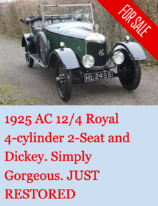 1925 AC Royal 11.9hp 4-cylinder Two-Seat and Dickey : SUPERB