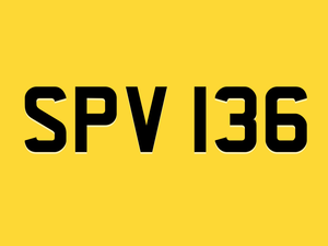 Spv136 captain scarlet shelvoke number plate For Sale