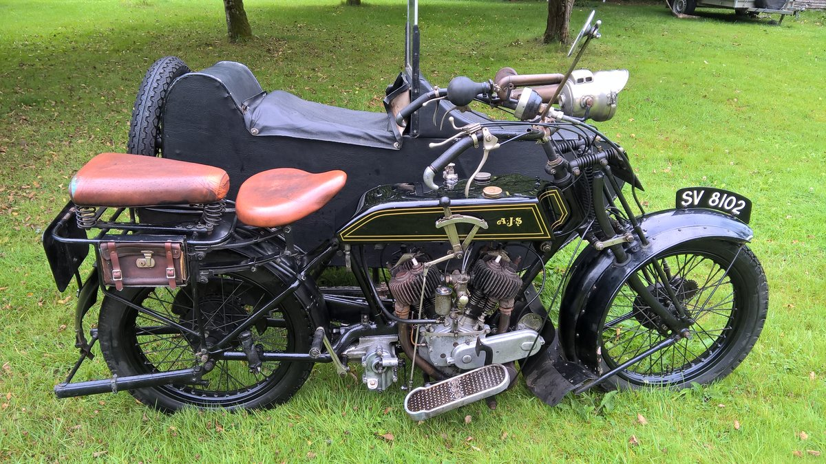1921 AJS Model D and sidecar SOLD (picture 1 of 6)