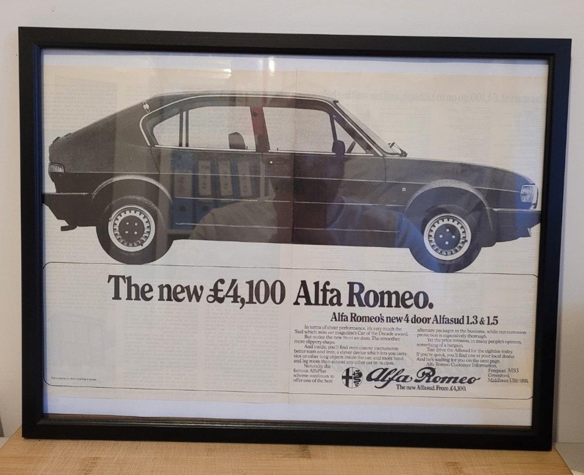 1985 Original 1980 Alfasud Framed Advert For Sale (picture 1 of 3)