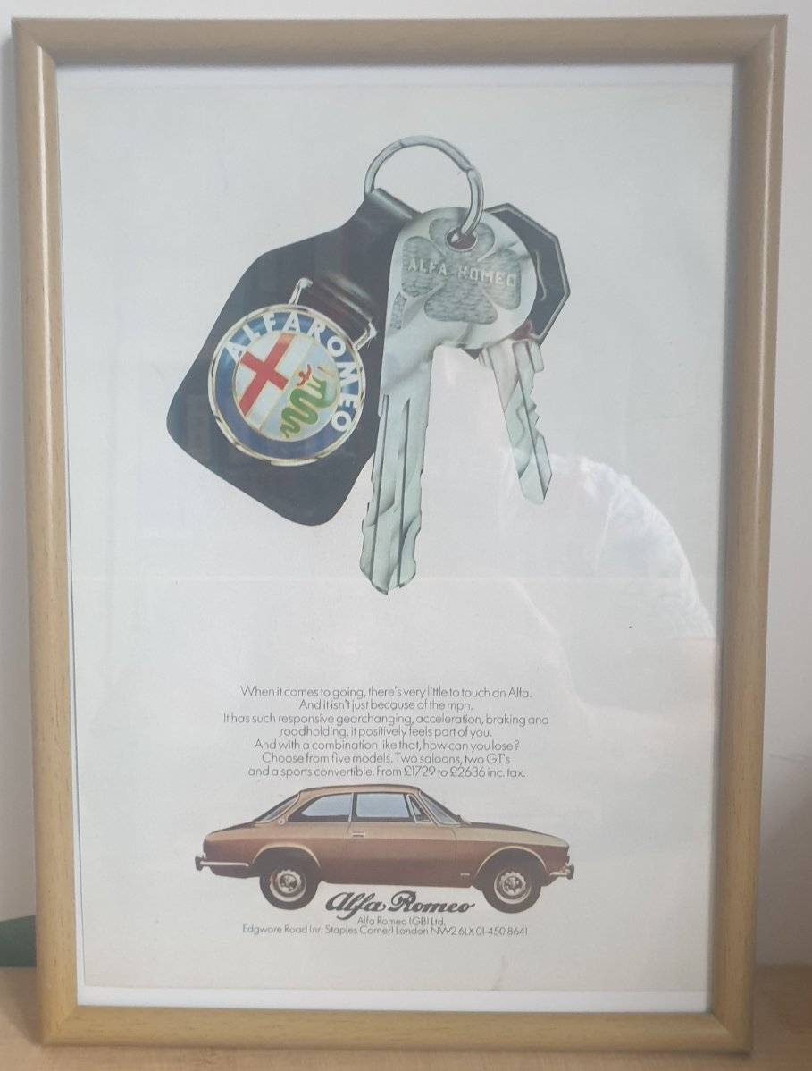 Original 1972 Alfa Romeo Framed Advert
