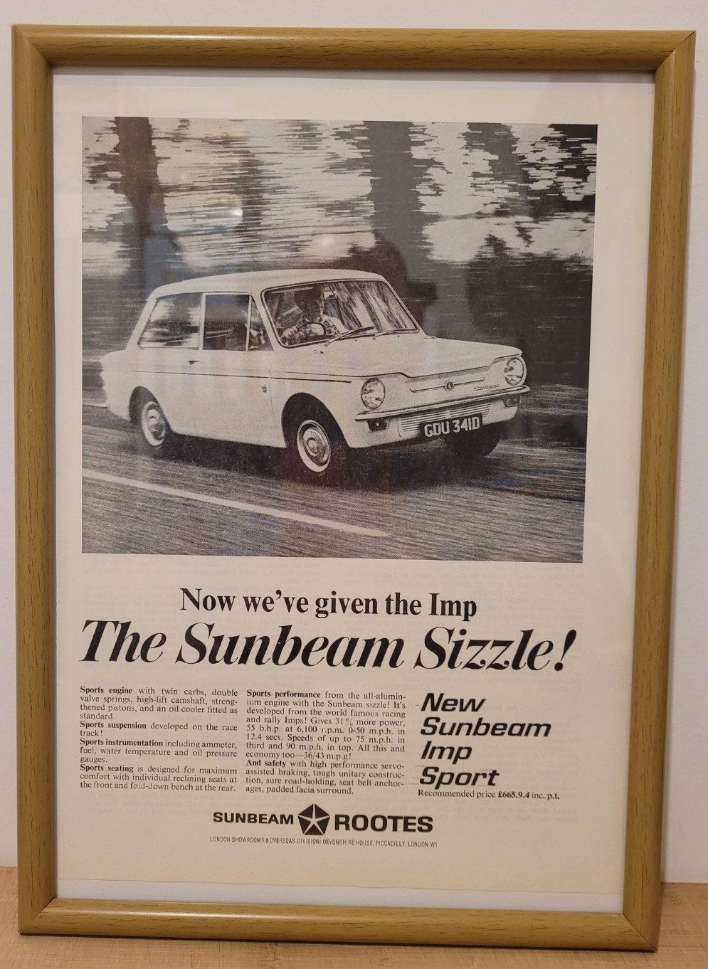 Picture of 1983 Original 1966 Sunbeam Imp Sport Framed Advert
