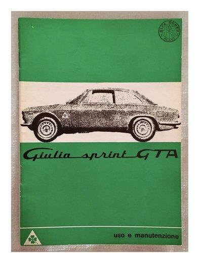 Owner's Manual Alfa Romeo Giulia Sprint GTA 1600 For Sale (picture 1 of 5)