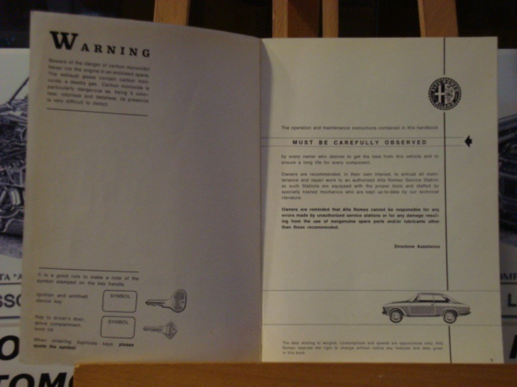 1966 Alfa romeo GT1300 junior instruction book For Sale (picture 2 of 3)