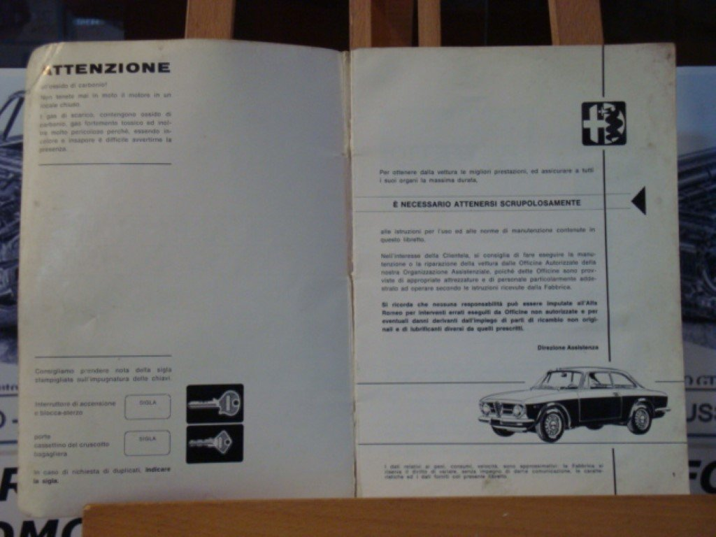 1971 Alfa romeo GT 1300 junior instruction book For Sale (picture 3 of 3)