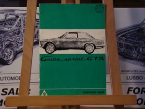 1965 Alfa romeo GTA 1600 instruction book.  For Sale