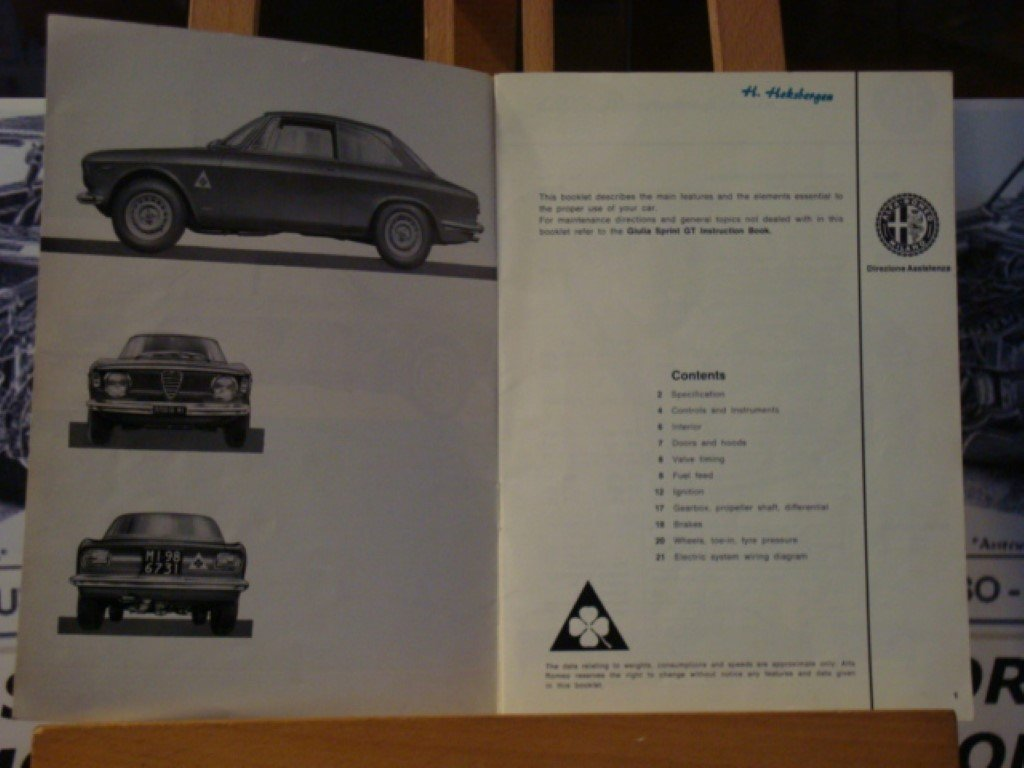 1965 Alfa romeo GTA 1600 instruction book.  For Sale (picture 3 of 3)