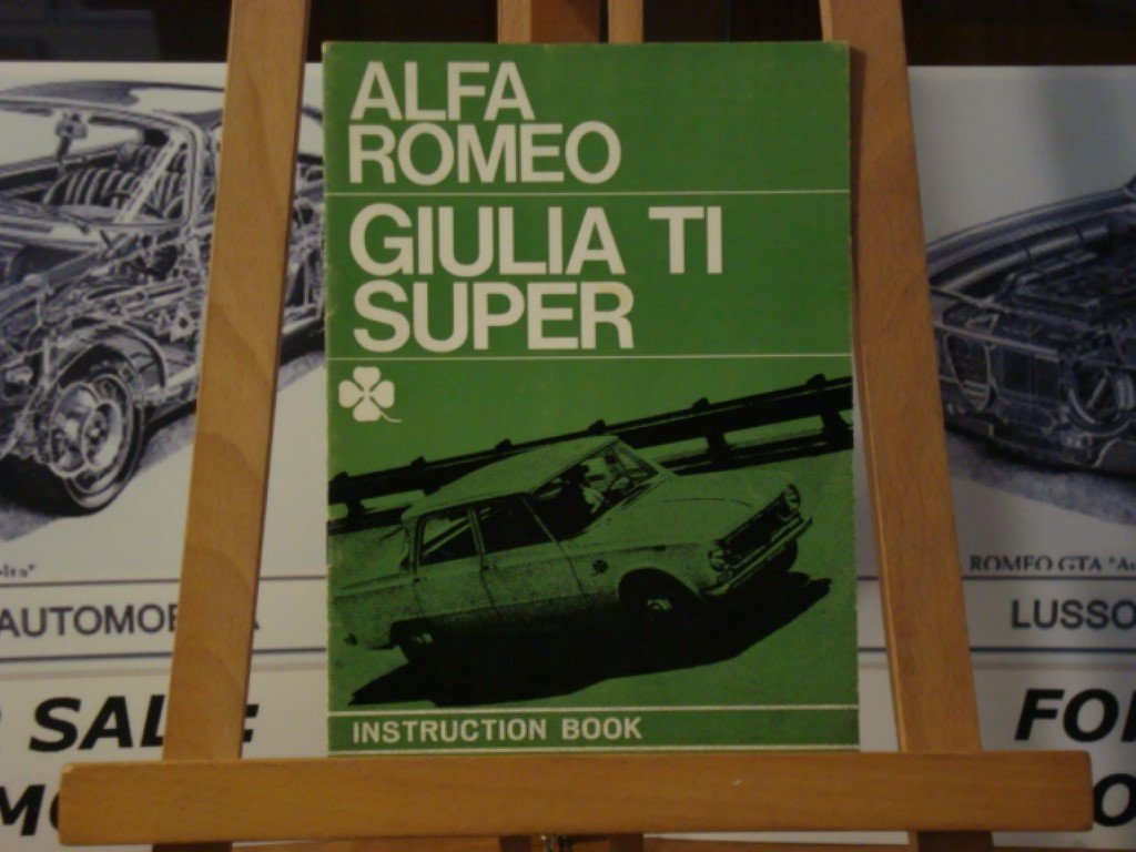1965 Alfa romeo Giulia TI Super instruction book For Sale (picture 1 of 3)
