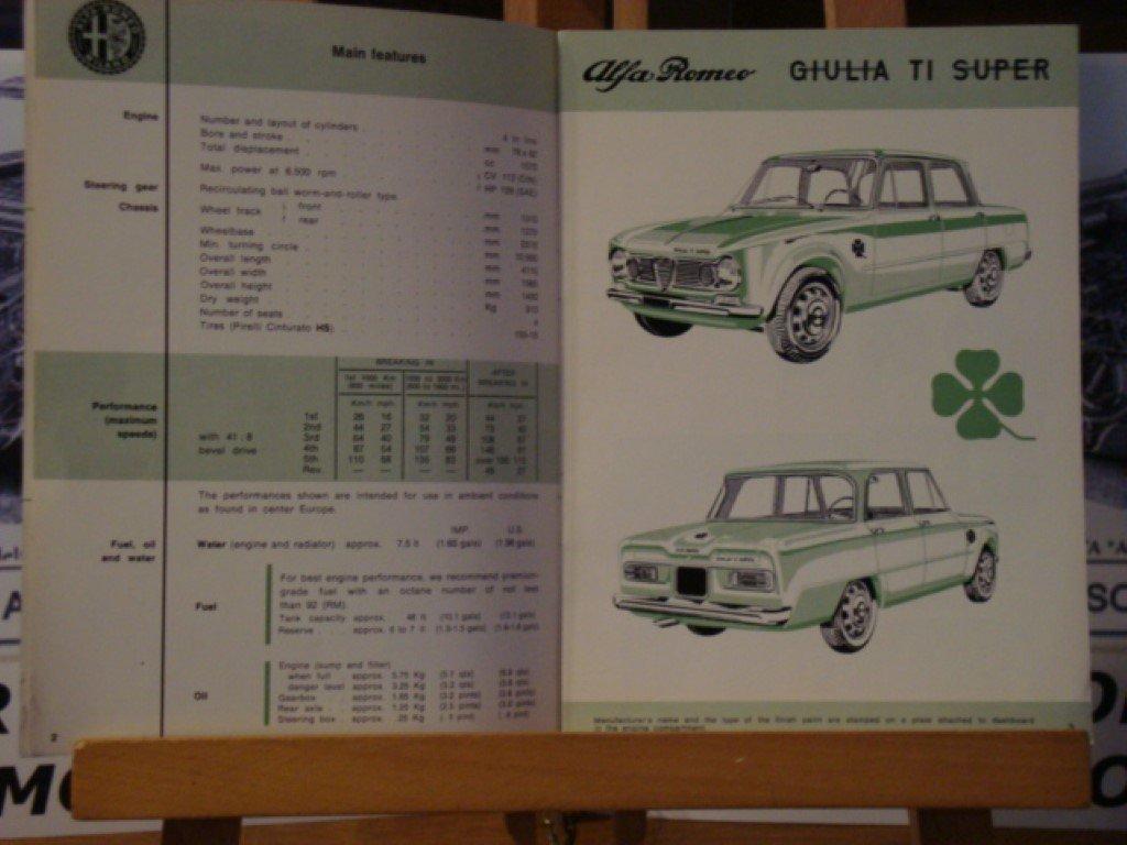 1965 Alfa romeo Giulia TI Super instruction book For Sale (picture 3 of 3)