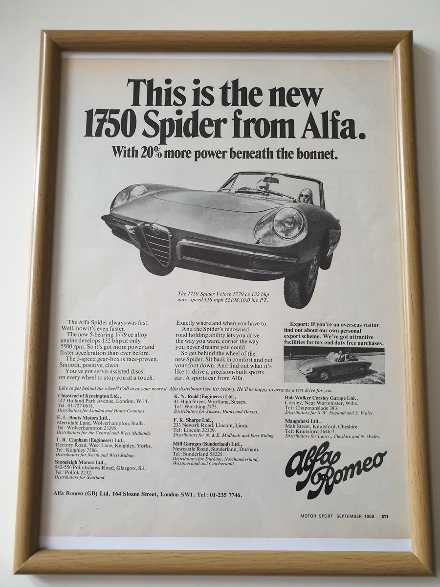 Original 1968 Alfa Romeo 1750 Spider Framed dvert For Sale (picture 1 of 1)