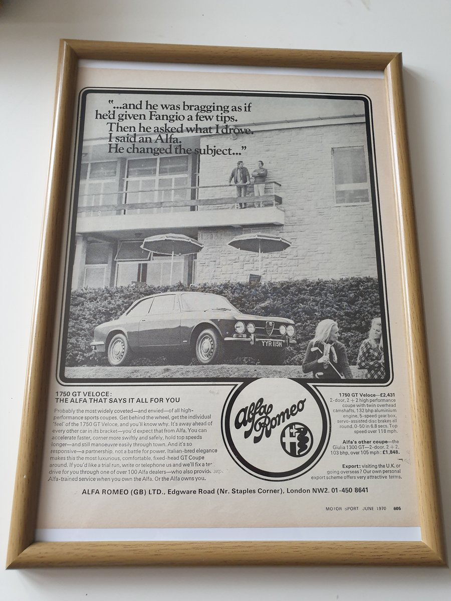 Original 1970 Alfa Romeo Advert For Sale (picture 1 of 2)