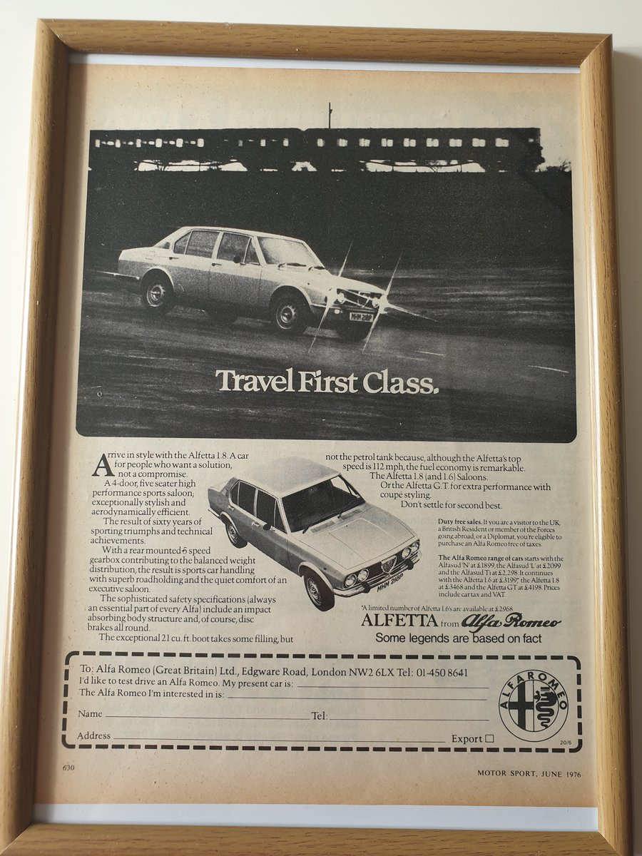 Original 1976 Alfetta Advert SOLD (picture 1 of 1)