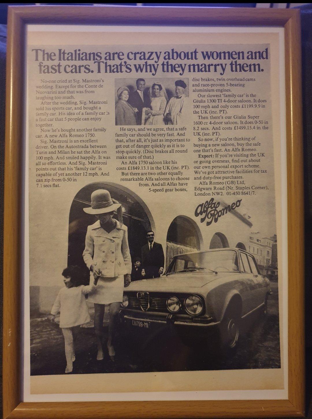 Original 1969 Alfa Romeo 1750 Advert For Sale (picture 1 of 2)