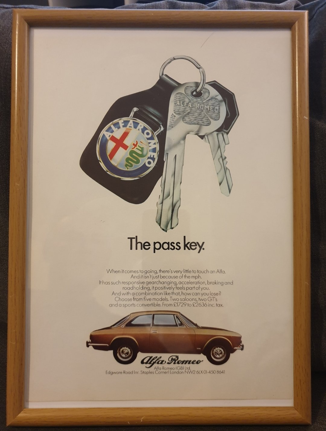 1973 Original Alfa Romeo Framed Advert For Sale (picture 1 of 2)