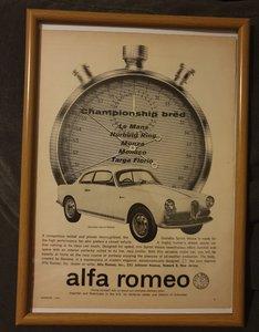 1962 Alfa Romeo Giulietta Advert Original