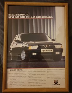 1992 Alfa 75 Framed Advert Original