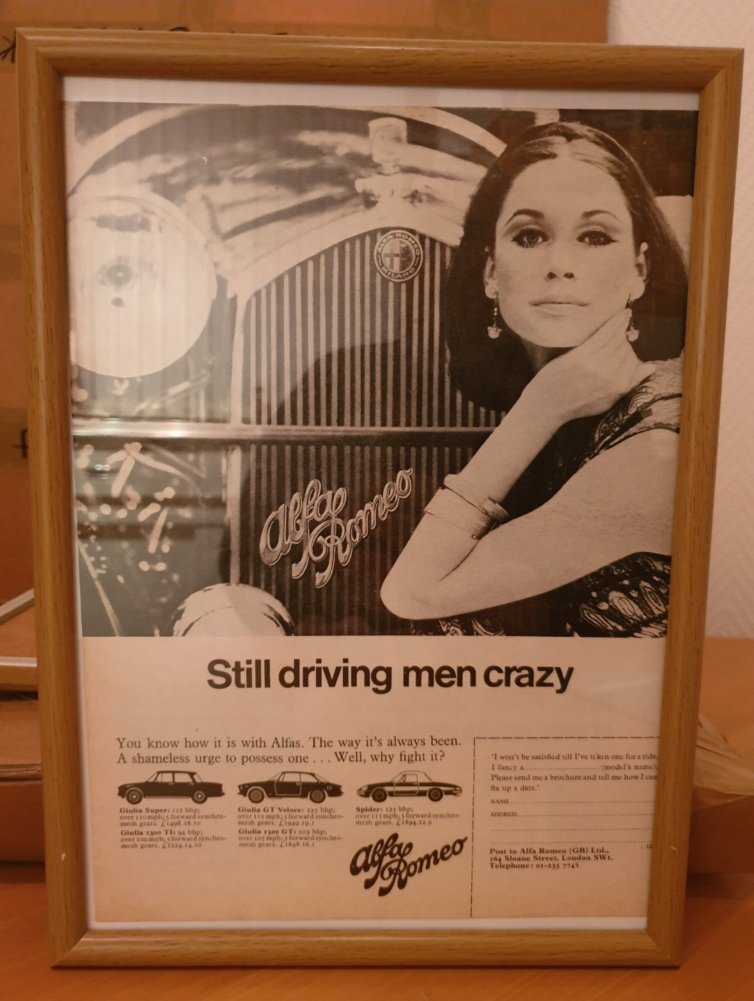 1967 Original Alfa Romeo Framed Advert For Sale (picture 1 of 2)