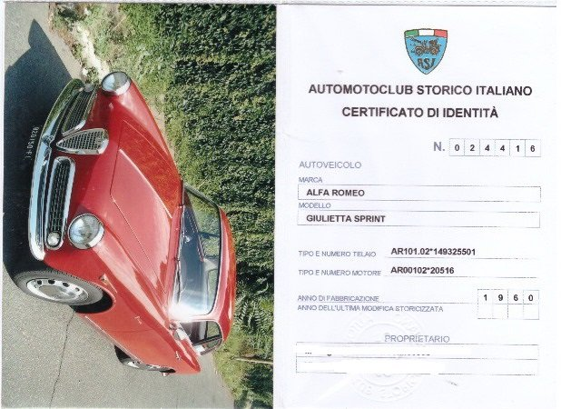 1960 ALFA ROMEO GIULIETTA SPRINT For Sale (picture 6 of 6)