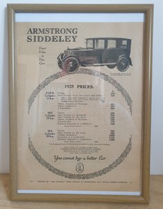 Picture of 1973 Original 1924 Armstrong-Siddeley Framed Advert