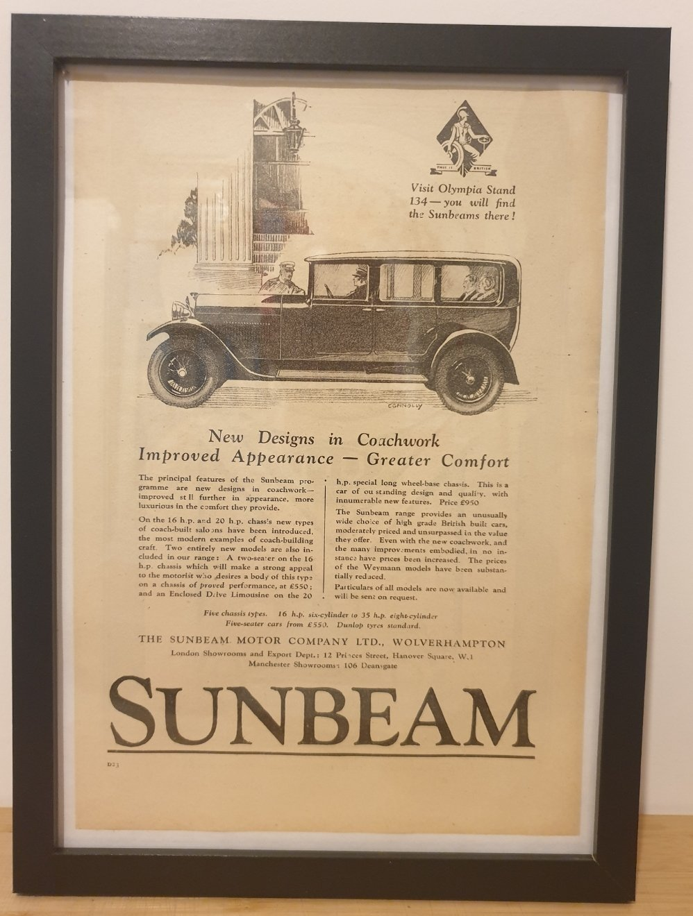 1976 Original 1928 Sunbeam Framed Advert  For Sale (picture 1 of 3)