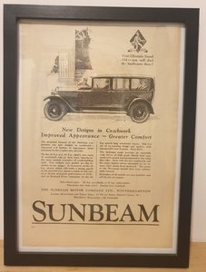 Picture of 1976 Original 1928 Sunbeam Framed Advert