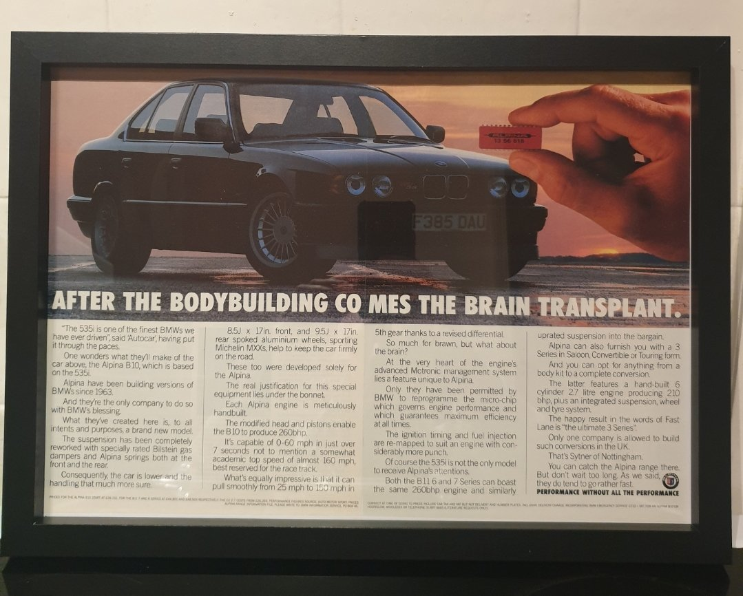 1989 Alpina B10 Framed Advert Original  For Sale (picture 1 of 2)