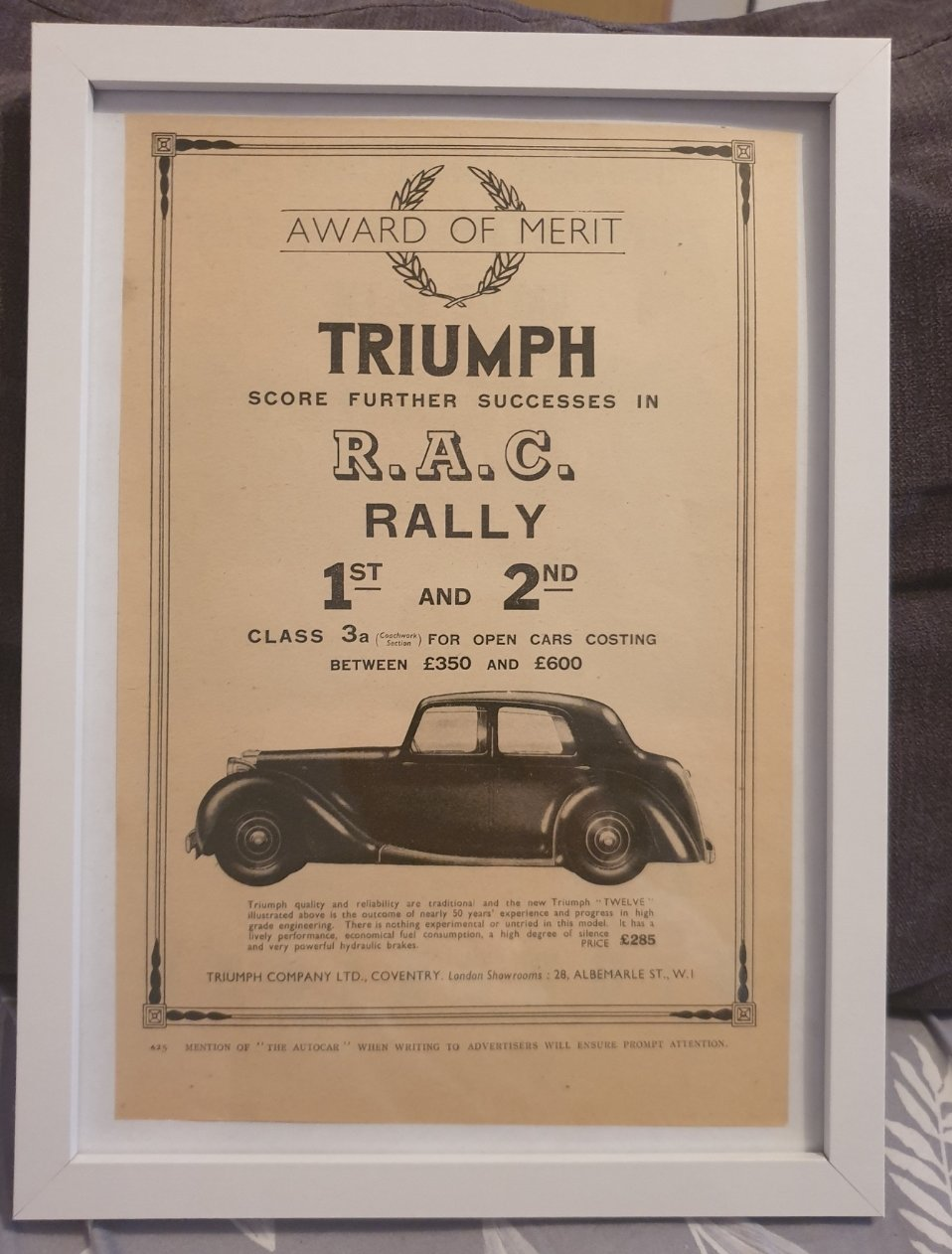 1984 Original 1939 Triumph Twelve Framed Advert  For Sale (picture 1 of 3)