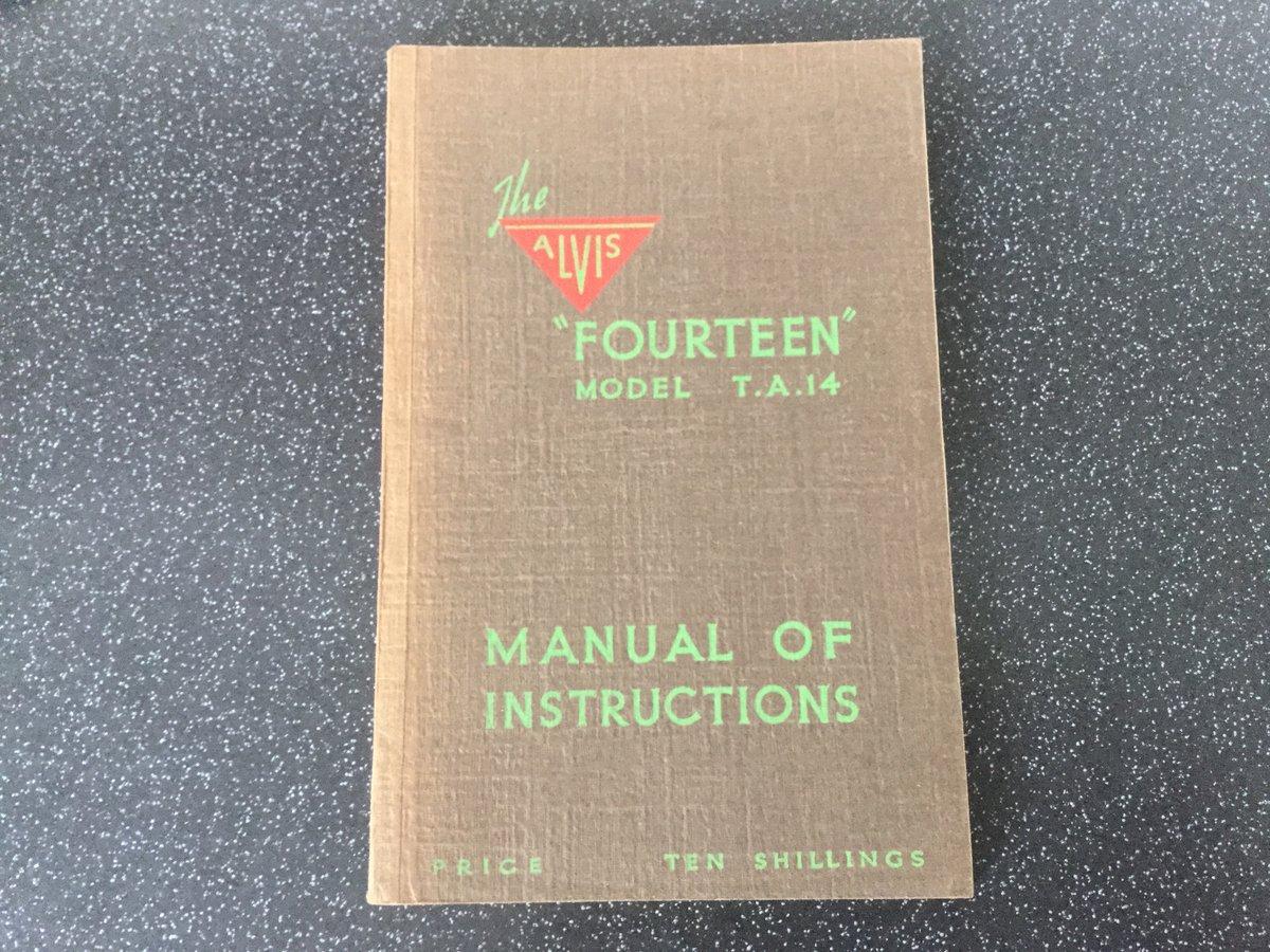 Alvis TA14 original handbook For Sale (picture 1 of 6)