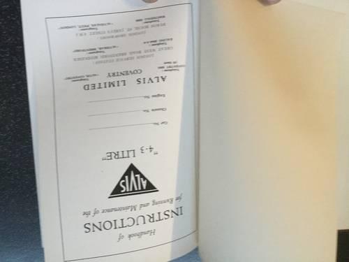 1950 Alvis 4.3 litre original instruction book For Sale (picture 2 of 6)