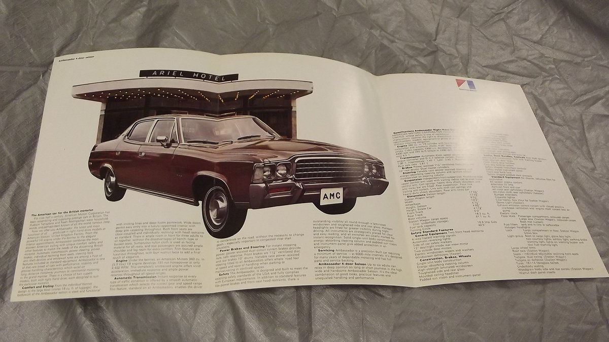 AMC AMBASSADOR SALOON AND ESTATE 1970S SALES BROCHURE For Sale (picture 2 of 2)