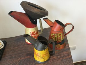 Pre war and post shell oil pourers For Sale