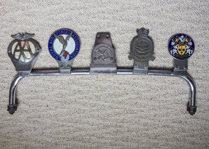 Genuine Classic Car Badge Bar with 5 badges For Sale