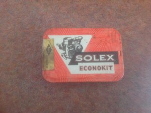 SOLEX  carburettor kit in original tin.
