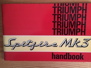 Triumph Spitfire Mk3 owners handbook. For Sale