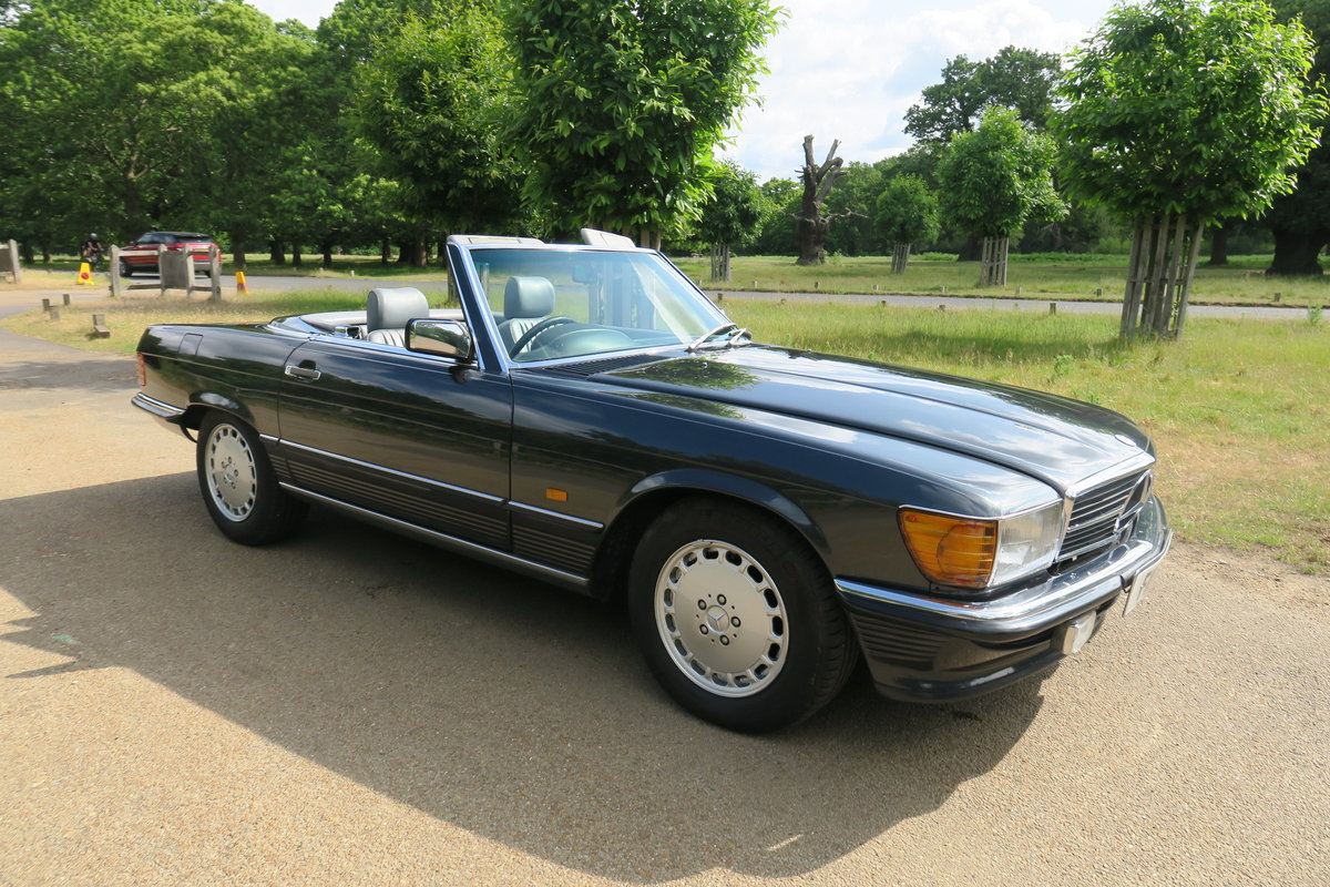 1988 Mercedes 300 SL300 R107 Blue Black FMSH 96k For Sale (picture 1 of 6)