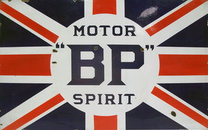 large BP motor spirit enamel sign For Sale by Auction