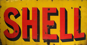 large shell enamel sign For Sale by Auction