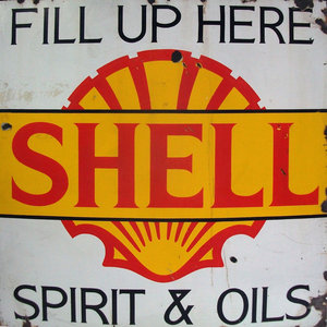 large fill up with shell enamel sign For Sale by Auction