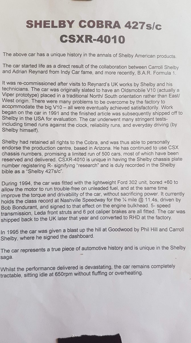 1969 AC Cobra Ram signed by Carroll Shelby For Sale (picture 2 of 6)