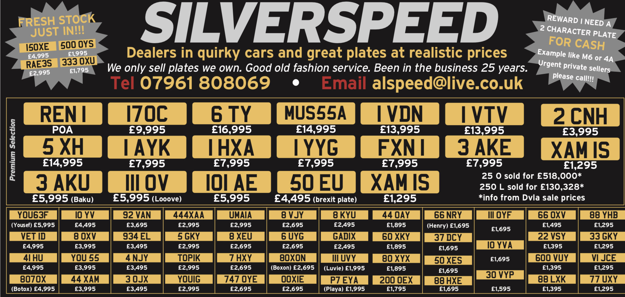 Amazing selection of valuable number plates at bargain price For Sale (picture 1 of 1)