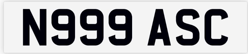Private Number Plate N999 ASC For Sale