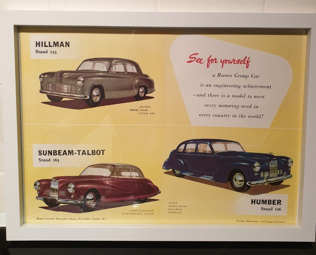 1950 Original Rootes Group Framed Advert For Sale (picture 1 of 2)