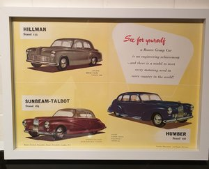 1950 Original Rootes Group Framed Advert