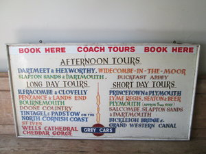 Grey cars 1950s coach trip display board For Sale
