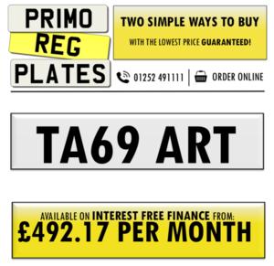 TA69 ART - PERSONALISED NUMBER PLATE