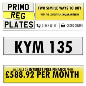 KYM 135 - PERSONALISED NUMBER PLATE