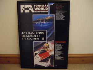 FIA Monaco poster,Ayrton Senna signed